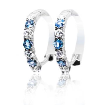 Yogo Sapphire and Diamond Huggie Earrings - 001-850-00671