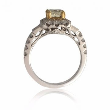 Goldsmith Gallery 18k Two-Tone Gold  and Halo Diamond Engagement Ring