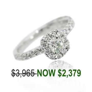 Henri Daussi 18k White Gold Halo Diamond Engagement Ring