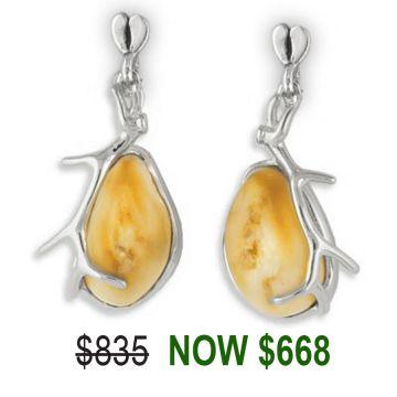 Elk Ivory 18k Yellow Gold Earrings