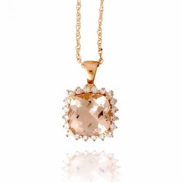 Morganite Cushion 14K Rose Gold Diamond Pendant