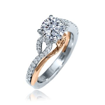 Frederic Sage 14k Two-Tone Gold Diamond Bypass Engagement Ring