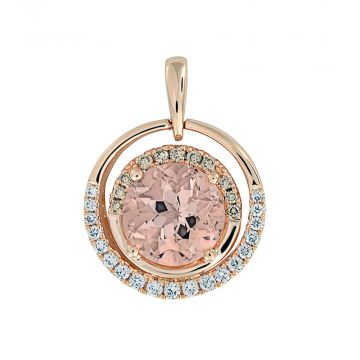14k Rose Gold Diamond and Chatham Created Morganite Pendant