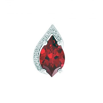 14k White Gold Diamond and Chatham Created Ruby Pendant