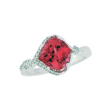 14k White Gold Diamond and  Chatham Created Padparadscha Sapphire Ring