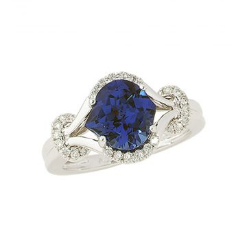 14k White Gold Diamond and Chatham Created Blue Sapphire Ring