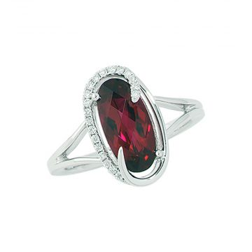14k White Gold Diamond and Chatham Created Ruby Ring