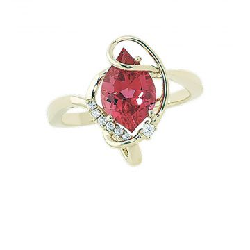 14k Yellow Gold Diamond and  Chatham Created Padparadscha Sapphire Ring