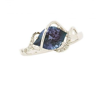 14k White Gold Diamond and Chatham Created Alexandrite Ring