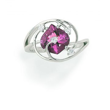14k White Gold Diamond and Chatham Created Pink Sapphire Ring