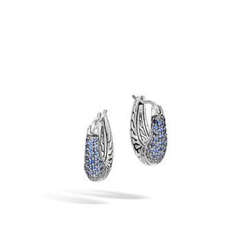 John Hardy Silver Classic Chain Women's Gemstone Hoop Earrings