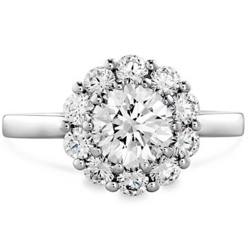 Hearts on Fire Platinum Floral Halo Engagement Ring