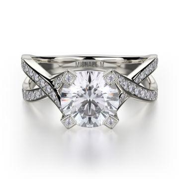 Michael M 18k White Gold Love Diamond Twisted Engagement Ring