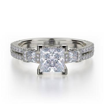 Michael M 18k White Gold Princess Diamond Three Stone Engagement Ring