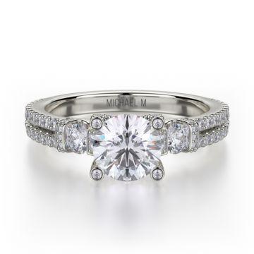 Michael M 18k White Gold Trinity Diamond Three Stone Engagement Ring