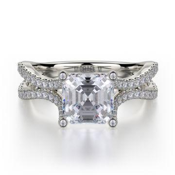 Michael M 18k White Gold Defined Diamond Split Shank Engagement Ring