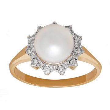 Honora 14k Yellow Gold Diamond and Pearl Ring