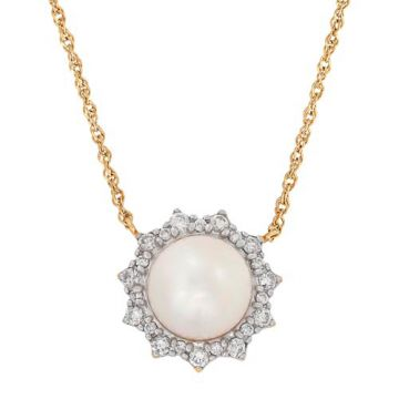 Honora 14k Yellow Gold Diamond and Pearl Necklace