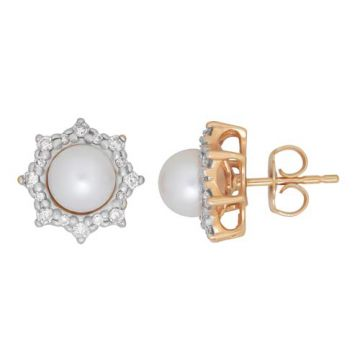 Honora 14k Yellow Gold Diamond and Pearl Earrings