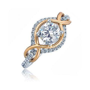 Frederic Sage 14k Rose Gold Diamond Halo Engagement Ring