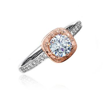 Frederic Sage 14k Two-Tone Gold Diamond Straight Engagement Ring