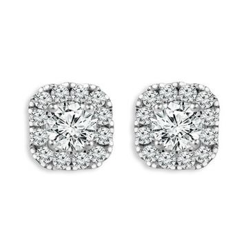 Haylie Ann Halo Collection 14k White Gold Diamond Earrings