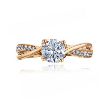 Frederic Sage 14k Rose Gold Diamond Criss Cross Engagement Ring