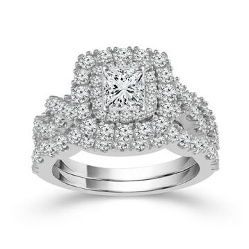 Haylie Ann Value Deal 14k White Gold Halo Engagement Ring