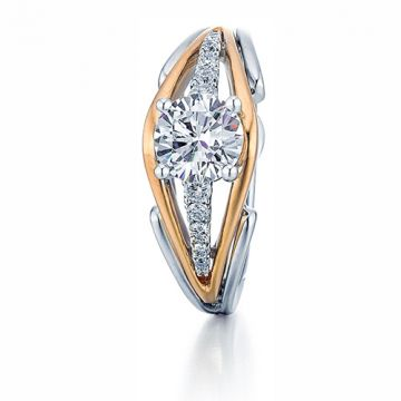 Frederic Sage 14k Two-Tone Gold Diamond Split Shank Engagement Ring