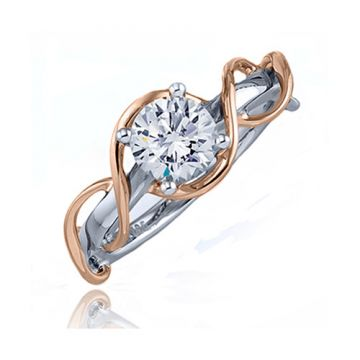 Frederic Sage 14k Two-Tone Gold Diamond Free Form Engagement Ring