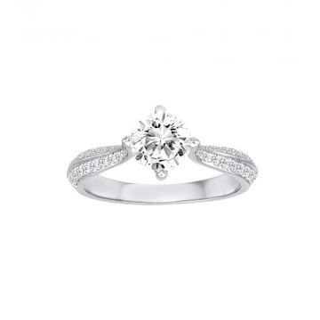 Diadori 18k White Gold 0.31ct Diamond Semi Mount Engagement Ring