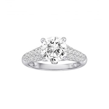 Diadori 18k White Gold 0.82ct Diamond Semi Mount Engagement Ring