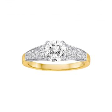 Diadori 18k Two Tone Gold 0.23ct Diamond Semi Mount Engagement Ring