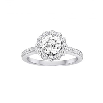 Diadori 18k White Gold 0.43ct Diamond Semi Mount Engagement Ring