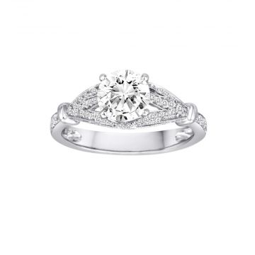 Diadori 18k White Gold 0.58ct Diamond Semi Mount Engagement Ring