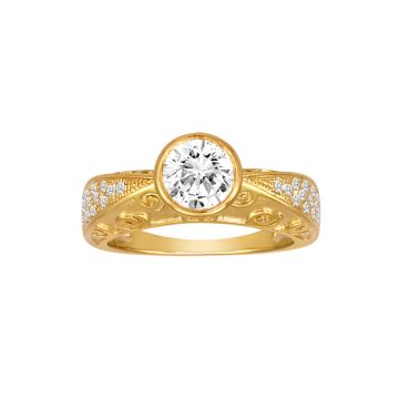 Diadori 18k Yellow Gold 0.20ct Diamond Semi Mount Engagement Ring