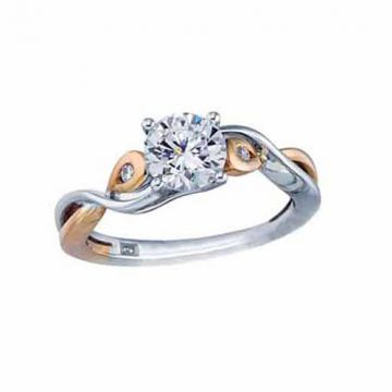 Frederic Sage 14k Two-Tone Gold Diamond Criss Cross Engagement Ring