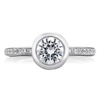 A. Jaffe 18k White Gold Round Architectural Bezel Diamond Engagement Ring