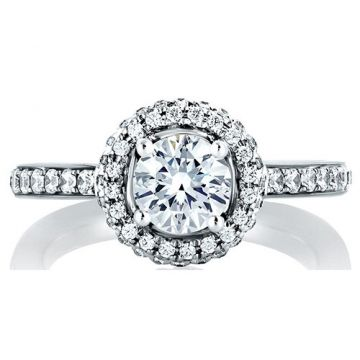 A. Jaffe 18k White Gold Halo Wrapped Diamond Engagement Ring