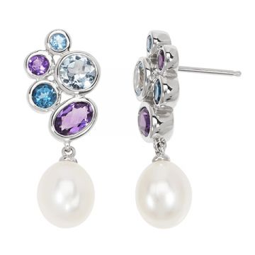 Honora Sterling Silver White Pearl Drop Earrings