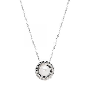 Honora Sterling Silver White Diamond and Pearl Necklace