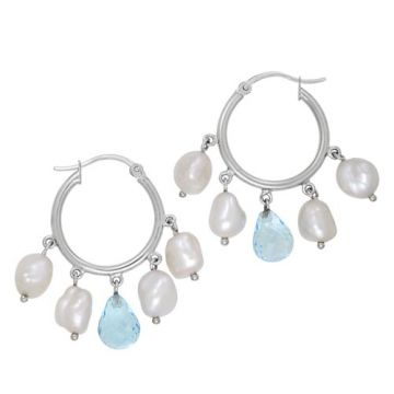 Honora Sterling Silver White Pearl Hoop Earrings