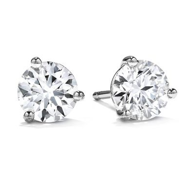 Hearts on Fire 3 ctw. Three-Prong Stud Earrings in 18K White Gold