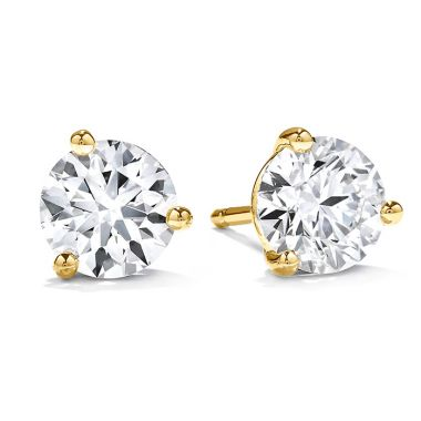Hearts on Fire 0.5 ctw. Three-Prong Stud Earrings in 18K Yellow Gold