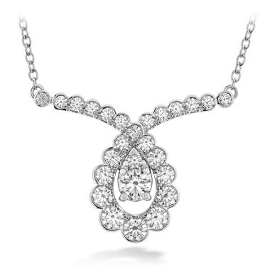 Hearts on Fire 0.8 ctw. Aerial Regal Scroll Drop Necklace in 18K Rose Gold