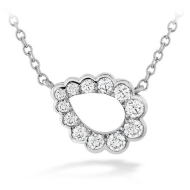 Hearts on Fire 0.3 ctw. Aerial Regal Scroll Teardrop Necklace in 18K White Gold