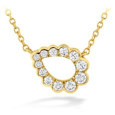 Hearts on Fire 0.3 ctw. Aerial Regal Scroll Teardrop Necklace in 18K Yellow Gold