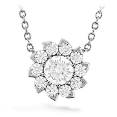 Hearts on Fire 1.3 ctw. Aerial Sol Halo Necklace in 18K White Gold