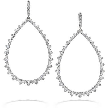 Hearts on Fire 9.55 ctw. Aerial Pointed Teardrop Earrings in 18K White Gold