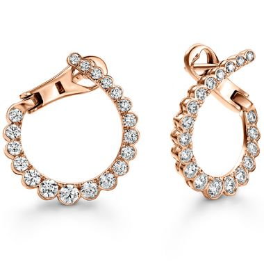 Hearts on Fire 0.98 ctw. Aerial Regal Diamond Hoops- Small in 18K Rose Gold